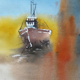 dreamy sail by Tushar Shetty, Impressionism Painting, Watercolor Wash on Paper, Brown color