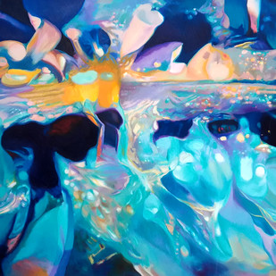 Colour of the Universe IX by Sumitava Maity, Abstract Painting, Oil on Canvas, Blue color