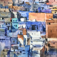 Jodhpur Blues by Shailesh Meshram, Impressionism Painting, Watercolor on Paper,