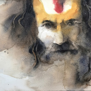 Sadhu by Shailesh Meshram, Impressionism Painting, Watercolor on Paper,