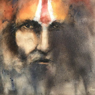 Sadhu 1 by Shailesh Meshram, Impressionism Painting, Watercolor on Paper,