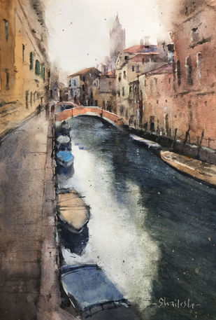 Venice 2 by Shailesh Meshram, Impressionism Painting, Watercolor on Paper,