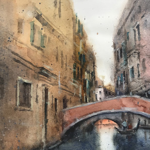 Venice 3 by Shailesh Meshram, Impressionism Painting, Watercolor on Paper,