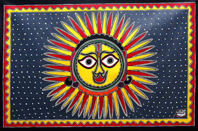 Untitled by Baua Devi, Folk Painting, Acrylic on Canvas, Brown color