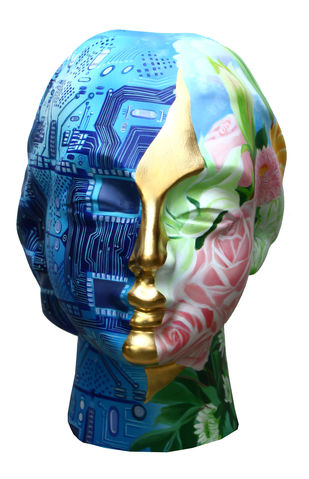 Head( 19E83) by Venkat Bothsa, Art Deco Sculpture | 3D, Fiber Glass,