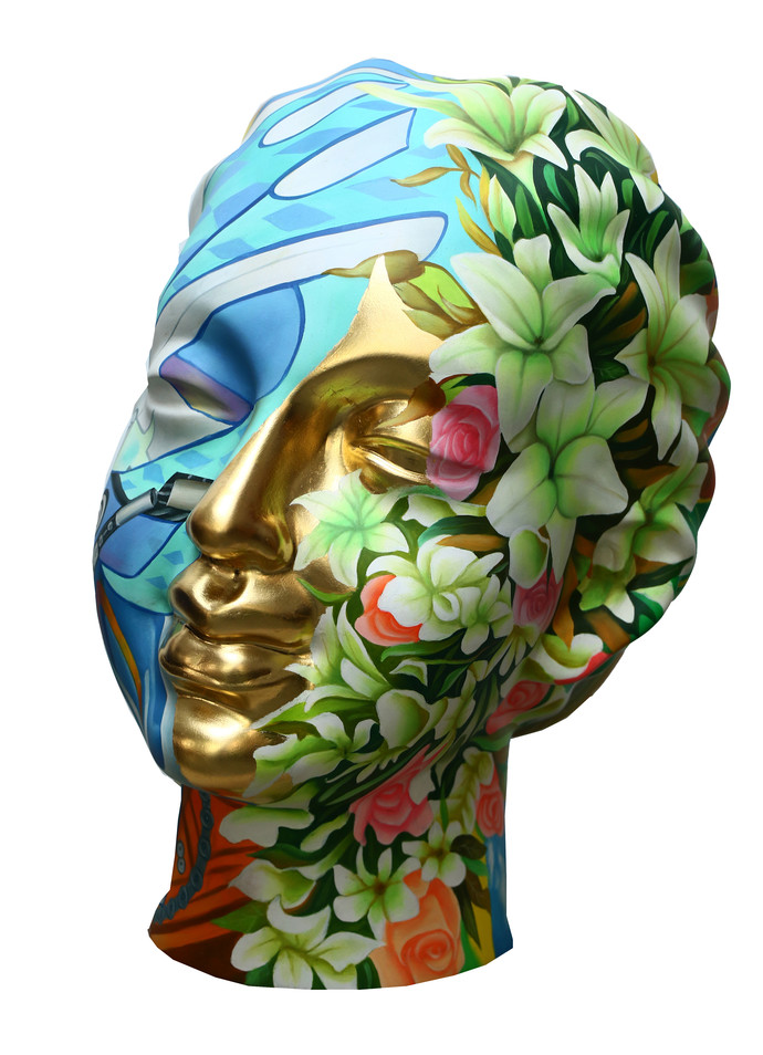 Head(19E82) by Venkat Bothsa, Art Deco Sculpture | 3D, Fiber Glass,