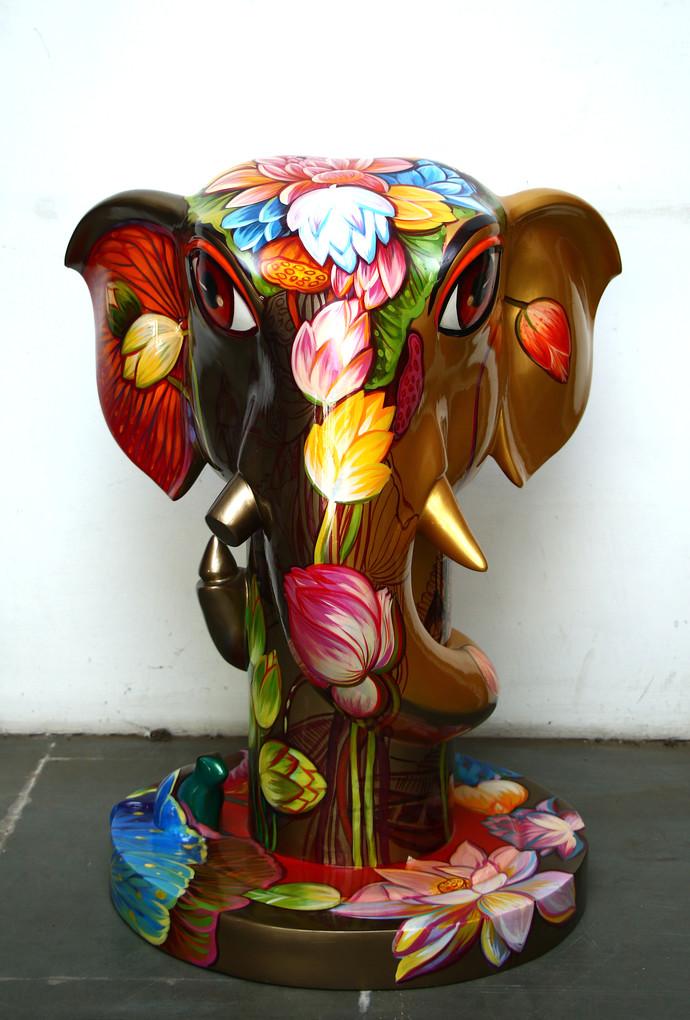 Ganpati by Sachindranath Jha, Art Deco Sculpture | 3D, Fiber Glass,