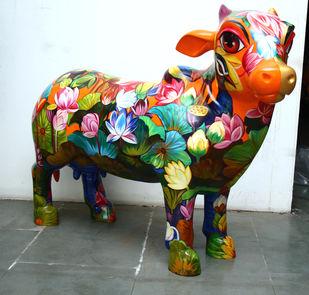 Paani-Paani(Kaandhenu) by Sachindranath Jha, Art Deco Sculpture | 3D, Fiber Glass,