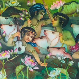 Untitled by Bratin Khan, Expressionism Painting, Tempera on Board,