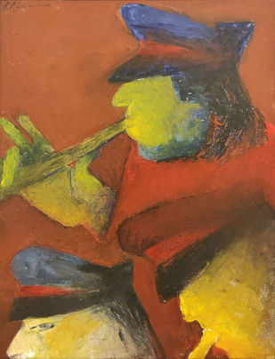 Untitled by Krishen Khanna, Expressionism Painting, Oil on Canvas,
