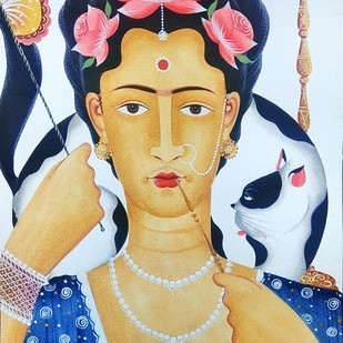 Kali-Kahlo 3 by Bhaskar Chitrakar, Folk Painting, Natural colours on paper,