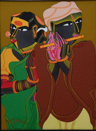 Untitled by Thota Vaikuntam, Expressionism Painting, Oil on Canvas,