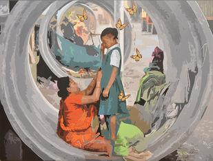 Ready to Fly by Ajay Kumar Rana , Pop Art Painting, Acrylic on Canvas, Gray color