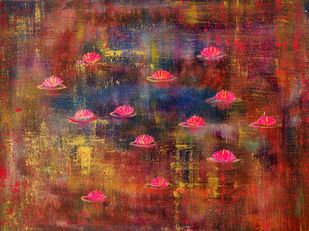 Water Lillies: Twilight by Cheena Madan, Abstract Painting, Acrylic on Canvas,