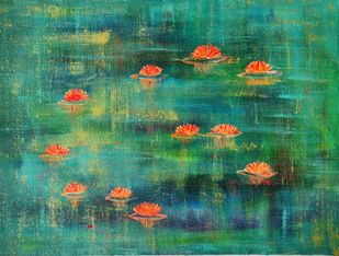 Water Lillies: dawn by Cheena Madan, Abstract Painting, Acrylic on Canvas,