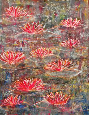 Water Lillies: ebullience by Cheena Madan, Expressionism Painting, Acrylic on Canvas,
