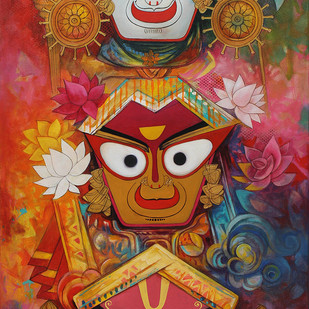 Jaganath-19 by Rajeshwar Nyalapalli, Traditional Painting, Acrylic on Canvas,