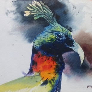 Peacock by Pradipkumar Jadhav, Impressionism Painting, Watercolor on Paper, Gray color