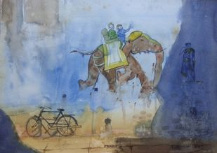 The wall by Pradipkumar Jadhav, Impressionism Painting, Watercolor on Paper, Blue color
