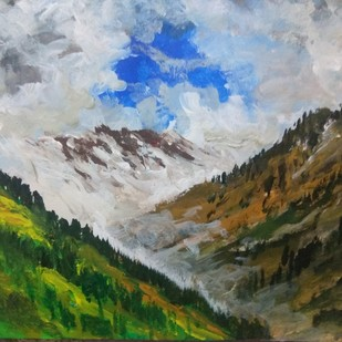 Chamba scape by Vivek Sharma, Impressionism Painting, Acrylic on Paper, Green color
