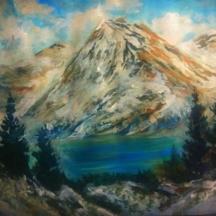 Snowed mountain by Vivek Sharma, Impressionism Painting, Acrylic on Paper,