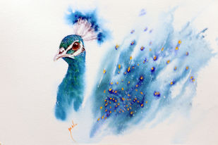 Crowning Glory - Peacock - Watercolor painting by Nisha Sehjpal by Nisha Sehjpal, Impressionism Painting, Watercolor on Paper,