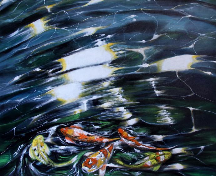 Koi Fish2 by Shveta Saxena, Expressionism Painting, Acrylic on Canvas,