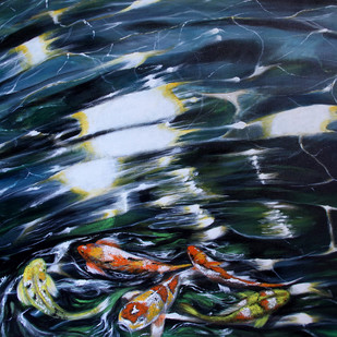 Koi Fish2 by Shveta Saxena, Expressionism Painting, Acrylic on Canvas,