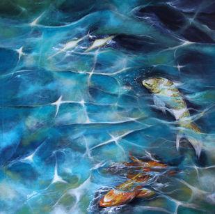 Koi Fish3 by Shveta Saxena, Expressionism Painting, Acrylic on Canvas,