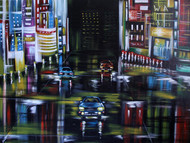 Urban Night1 by Shveta Saxena, Expressionism Painting, Acrylic on Canvas,