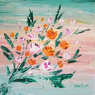 Flowers by Aastha Bairollia, Expressionism Painting, Acrylic on Canvas, Cyan color