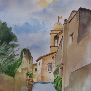 Walk on by Harshada, Impressionism Painting, Watercolor & Ink on Paper,