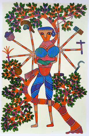 A Woman Can Do Anything by Umed Singh Patta, Tribal Painting, Earth pigments on handmade paper,