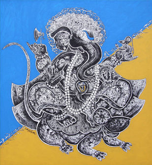 ganesha by Vinay Trivedi, Decorative Painting, Mixed Media on Canvas,