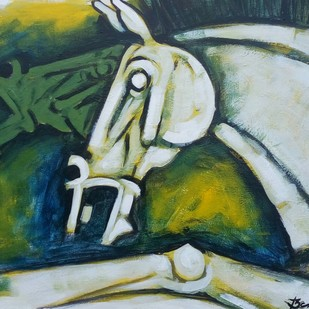 Horses 3 by Balbir Singh, Expressionism Painting, Acrylic on Board,