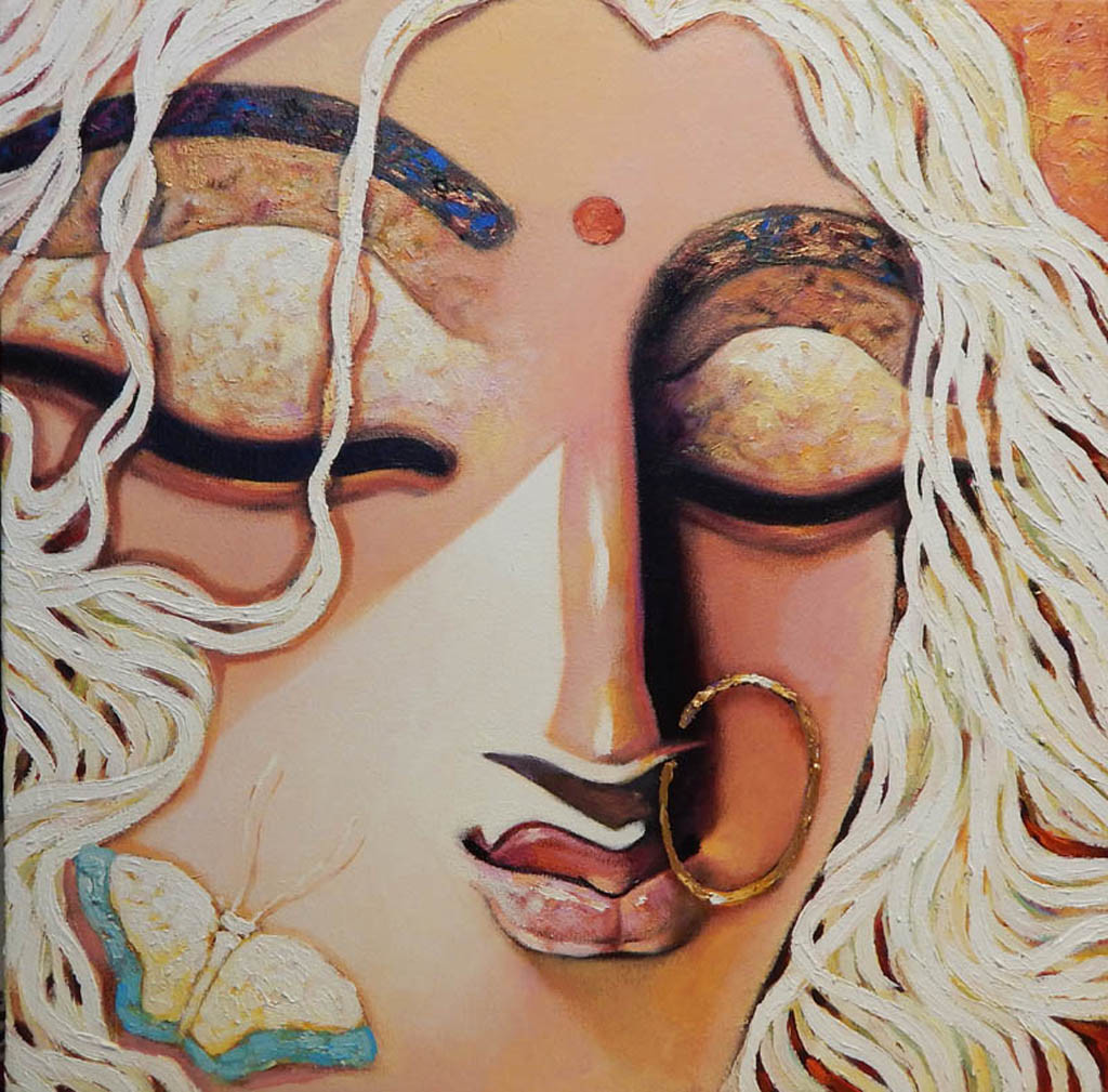 GRACIOUS-III by Subrata Ghosh, Expressionism Painting, Acrylic on Canvas,