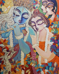 SILENT LOVE - II by Subrata Ghosh, Traditional Painting, Acrylic on Canvas,