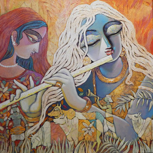 SILENT LOVE-III by Subrata Ghosh, Expressionism Painting, Acrylic on Canvas,
