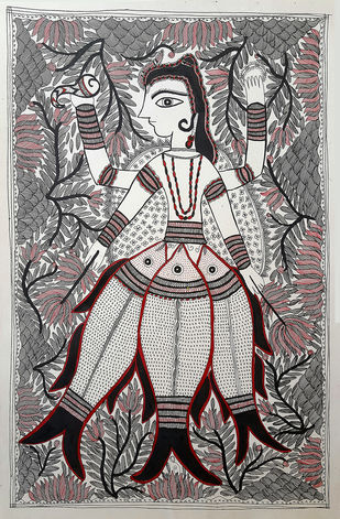 The Protector by Asha Devi, Folk Painting, Earth pigments on handmade paper,