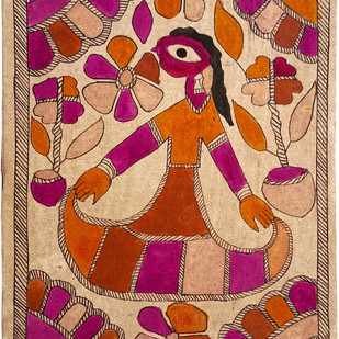 The Dancing Maiden by Yamuna Devi, Folk Painting, Natural colours on paper,