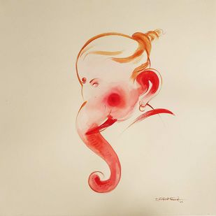 "Ganesha, Watercolour on Paper by Contemporary Artist ""In Stock"" by Gouranga Beshai, Expressionism Painting, Watercolor on Paper,"