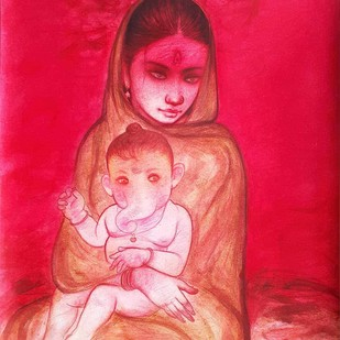 "Ganesh Janani, Mixed Media on Paper by Contemporary Artist ""In Stock"" by Gouranga Beshai, Illustration Painting, Mixed Media on Paper,"