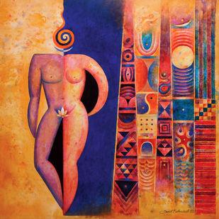 Adwaita by Sunil Balkawade, Expressionism Painting, Acrylic on Canvas,
