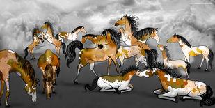 The Horse Family by Lokesh Sharma, Expressionism Digital Art, Digital Print on Canvas,