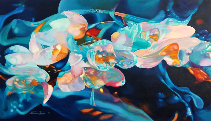 Colour of the Universe X by Sumitava Maity, Fantasy Painting, Oil on Canvas,