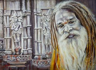 DIVINE KAMAKHYA I by Debojyoti Boruah, Expressionism Painting, Acrylic on Canvas,