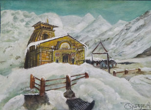 Kedarnath by Deshbandhu Jadli, Impressionism Painting, Watercolor on Paper,