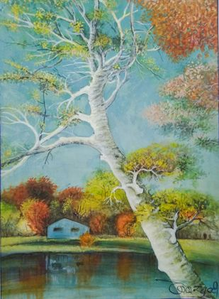 The Aspen tree by Deshbandhu Jadli, Impressionism Painting, Watercolor on Paper,