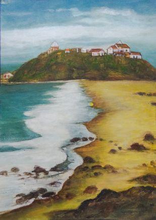Seashore by Deshbandhu Jadli, Impressionism Painting, Watercolor on Paper,