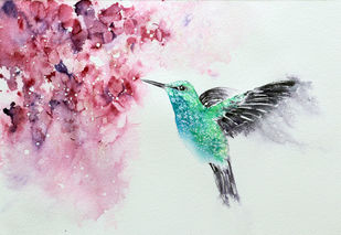 Hummingbird Watercolor Painting Original by Nisha Sehjpal by Nisha Sehjpal, Painting, Watercolor on Paper,